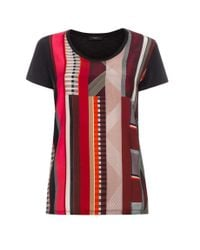 Paul Smith - Red Women's Black 'fontana Stripe' Print Silk-front T-shirt - Lyst