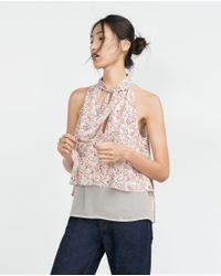 Zara | Multicolor Top With Tie Neck | Lyst