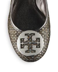 Tory Burch | Natural Reva Metallic Leather Straw Ballet Flats | Lyst