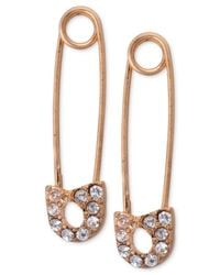 RACHEL Rachel Roy - Pink Rose Gold-Tone Crystal Safety Pin Earrings - Lyst