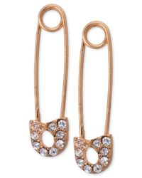RACHEL Rachel Roy | Pink Rose Gold-Tone Crystal Safety Pin Earrings | Lyst