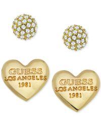 Guess - Metallic Crystal Heart Stud Earring Set - Lyst