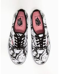 Vans - Black Authentic in Digi Roses - Lyst