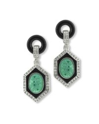 Kenneth Jay Lane | Green Art Deco Clip Earring | Lyst