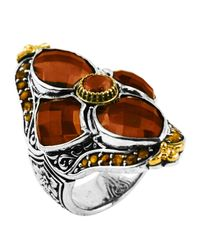 Konstantino | Metallic Sterling Silver & 18 Karat Gold Flower Cognac & Citrine Ring | Lyst