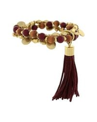 Vince Camuto | Metallic 'belle Of The Bazaar' Tassel Beaded Bracelet - Worn Gold/ Rhubarb/ Wood | Lyst