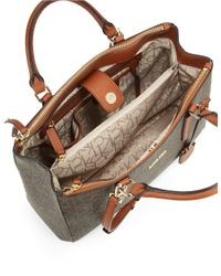 Calvin Klein Brown Faux Leather Monogram Satchel