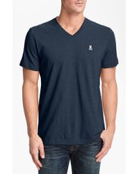 Psycho Bunny | Blue Pima Cotton V-neck T-shirt for Men | Lyst