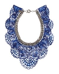 Annelise Michelson | Blue Gunmetaltone and Coated Lace Necklace | Lyst