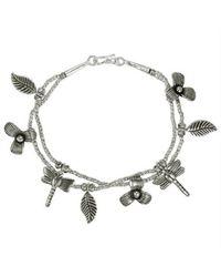 Aeravida | Metallic Intricate Beaded Dragonfly Garden Karen Tribe Handmade Silver Bracelet | Lyst
