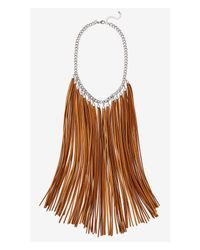Express | Brown Suede Fringe Necklace | Lyst