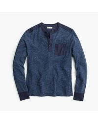 J.Crew | Blue Slim Flagstone Henley With Woven Placket for Men | Lyst