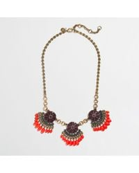 J.Crew - Red Factory Fringed Fan Necklace - Lyst