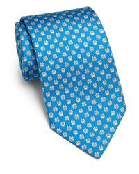 Ferragamo - Blue Owl-print Silk Tie for Men - Lyst