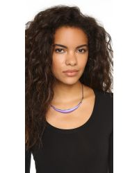Alexis Bittar - Metallic Pave Liquid Metal Crescent Collar Necklace - Magenta - Lyst