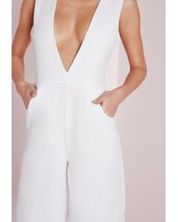 Missguided - V Front Culotte Jumpsuit White - Lyst