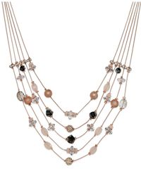INC International Concepts - Rose Gold-tone Pink Bead Five-row Illusion Necklace - Lyst