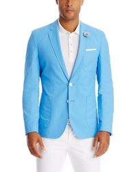 BOSS - Blue 'raye' | Extra Slim Fit, Cotton Blend Sport Coat for Men - Lyst