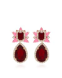 Shourouk | Galaxy Goldplated Swarovski Crystal Earrings in Pink | Lyst