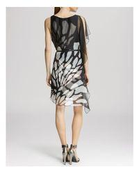 Halston - Black Dress - Asymmetric Side Flutter - Lyst