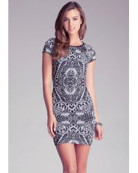 Bebe | Blue Tribal Jacquard Dress | Lyst