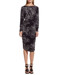 Vince Camuto | Black 'floral Countours' Jersey Dress | Lyst