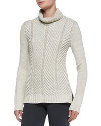 Vince - Gray Chevron Turtleneck Sweater - Lyst