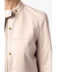 7 For All Mankind - Natural Leather Bomber Jacket With Snaps - Lyst