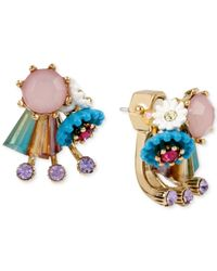 Betsey Johnson | Metallic Gold-tone Cluster Front And Back Earrings | Lyst