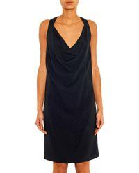 Céline - Black Draped-Front Crepe Dress - Lyst