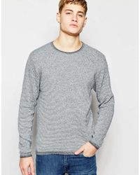 Jack & Jones | Gray Knitted Jumper In Mixed Yarns for Men | Lyst