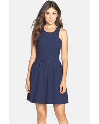 Charles Henry | Blue Crepe Fit & Flare Dress | Lyst