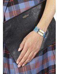 McQ - Blue Turquoise Razor Leather Wrap Bracelet - Lyst