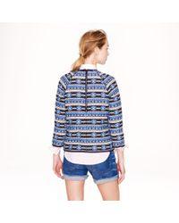 J.Crew - Blue Popover Sweatshirt in Floral Jacquard - Lyst
