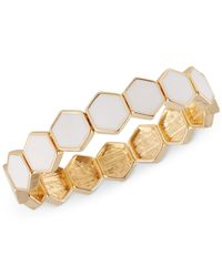 French Connection | White Gold-tone Hexagon Tile Stretch Bracelet | Lyst
