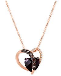 Le Vian - Metallic Smoky Quartz (1/10 Ct. T.w.) And Diamond Accent Heart Necklace In 14k Rose Gold - Lyst