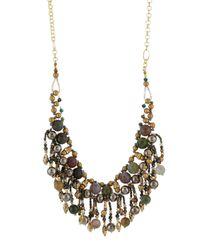Nakamol - Metallic Agate & Crystal Beaded Fringe Bib Necklace - Lyst