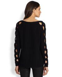 MILLY - Black Peekaboo Sleeve Sweater - Lyst
