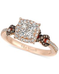 Le Vian - Brown Chocolate (1/10 Ct. T.w.) And White (7/8 Ct. T.w.) Diamond Braided Ring In 14k Rose Gold - Lyst