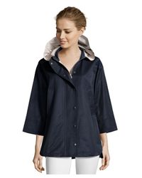 Cinzia Rocca - Black Midnight Water-resistant Cotton Hooded Swing Coat - Lyst