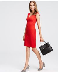 Ann Taylor | Red Cap Sleeve Dress | Lyst
