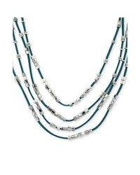 BCBGeneration | Blue Silvertone Bead and Turquoise Suede Multi Row Necklace | Lyst