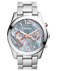 Fossil | Metallic 'perfect Boyfriend' Chronograph Bracelet Watch | Lyst