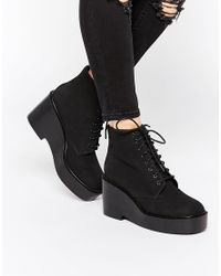 ASOS - Black Eclipse Lace Up Ankle Boots - Lyst