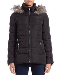 Calvin Klein | Black Faux Fur-trimmed Quilted Coat | Lyst