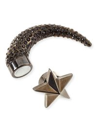 Givenchy - Gray Single Small Star Pave Crystal Shark-Tooth Earring - Lyst
