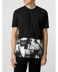 TOPMAN - Black Mono Cut And Sew T-shirt for Men - Lyst