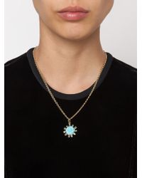 Irene Neuwirth | Blue 18kt Gold And Turquoise Flower Pendant | Lyst