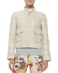 Tory Burch | Natural Larissa Tweed Button Collar Jacket | Lyst
