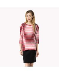 Tommy Hilfiger | Red Organic Cotton Striped Sweater | Lyst